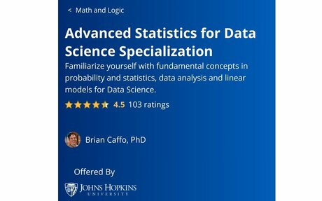 Advanced Statistics for Data Science Specialization