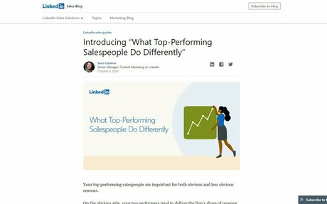 LinkedIn's State Of Sales Research Offers Insight Into How Top-Performing Salespeople Achieve Success #LinkedIn